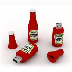 Ketchup Bottle - Our Custom Shape Flash Drive is built with exceptional lightweight rubber to integrate this portable USB drive (memory device) with a unique 3D shape you desire. Complete customization allow for your exclusive company or product's advertisement