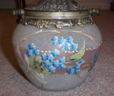 Antique 1890s Biscuit Barrel Cracker Jar Crackle Handpainted Satin Frosted Glass