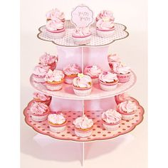 Hübsche Etagere in rosa-weiß mit nostalgischem Flair für süße Kleinigkeiten auf Ihrer Hochzeit