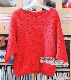 . Ажурный пуловер для девочки.