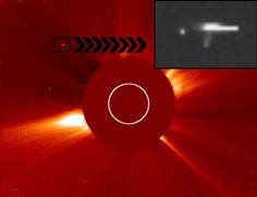 CLICK NA IMAGEM : Outro enorme OVNI / UFO é fotografado próximo do Sol