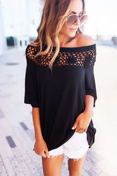 Black Crochet Neckline Top