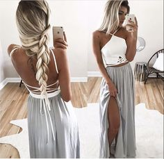 Two piece Lace back Prom Dress,Long Chiffon Evening Dresses ,Formal Dresses,Slit Side Evening Dress