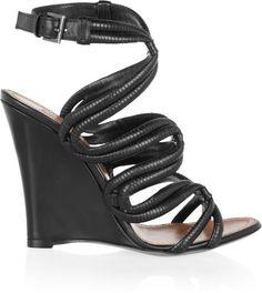 Alaia wedge   Alaïa Leather Wedge Sandals in Black - Lyst