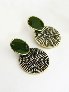 #SheInside Green Gemstone Round Stud Earrings