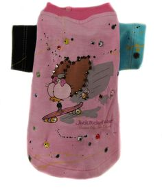 Jack Rocketwear Couture Surfdawg Pink Dog Pet Shirt Outfit Rhinestone - Mirranme