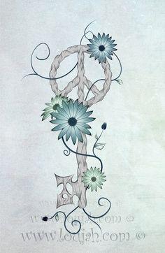 LouJah - Key To Peace #art #loujah #digital #illustration #draw #drawing #dessin #boho #clef #key #flowers #wood #gypsy #bohemian #tattoo #peace #hippie