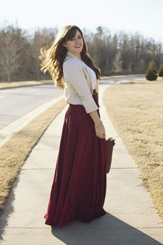 a winter maxi in red + light layers