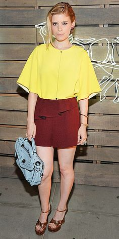 Last Night's Look: Love It or Leave It?   KATE MARA   Say what you want about Kate and her yellow top, red-brown ruffled shorts (both Sandro) and powder-blue Coach bag at the Summer Party presented by Coach in N.Y.C., but don't say she's afraid of color.