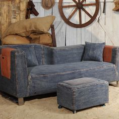 I love the idea of this sofa.  Looks like it can take the kind of treatment you'd expect it to receive at the cabin.