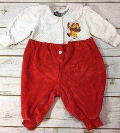 Vintage 90s Winnie the Pooh Baby Girl Christmas One-Piece Romper Velour 3-6M  | eBay