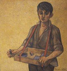 Louay Kayyali-- The Match Seller Oil on masonite/chipboard, signed and dated, 1974 90 x 89 cm
