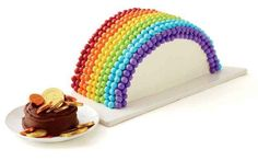 Cover half a cake with M&Ms to make a rainbow.
