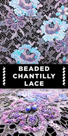 Bright Turquoise and Lavender Beaded Chantilly Lace