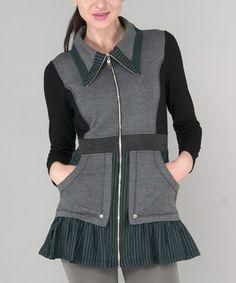 Look what I found on #zulily! Gray & Black Stripe Zip Jacket by Dzhavael Couture #zulilyfinds