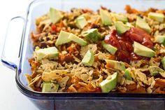 Vegan enchilada casserole... yum!  Might want to substitute some of the veggies, but it  looks mighty tasty!