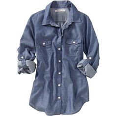 Old Navy Womens Chambray Shirts ($24) ❤ liked on Polyvore featuring tops, blouses, shirts, blusas, women, blue chambray shirt, blue blouse, fitted shirts, chambray blouse and shirt blouse