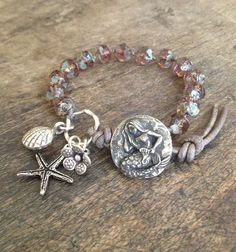 Mermaid Knotted Leather Wrap Bracelet, Shell Beach Endless Summer $38.00