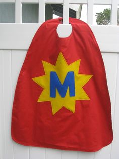 Small Red Initial Superhero Cape- As Seen in LUCKY KIDS MAGAZINE