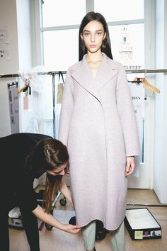 Larissa Marchiori backstage at JIL SANDER F/W 2014