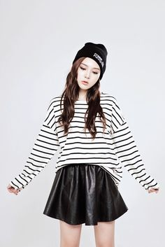 Cute korean fashion for hipsters. Beanie+ (oversize) striped jumper+ synthetic leather skirt