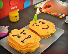 Partyummy's Birthday / Lego - Photo Gallery at Catch My Party Lego Birthday Party, Birthday Parties, 7th Birthday, Lego Presents, Lego Party Supplies, Pancake Designs, Gateau Harry Potter, Pancake Art, Classic Lego