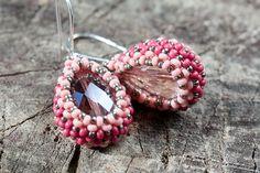 handmade earrings - pink glass teardrop with seed beads