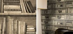 Sepia Bookshelf Wallpaper by Young & Battaglia Book Wallpaper, Book Nooks, Powder Room, Bookshelves, Design Inspiration, Reading, Fun, Home Decor, Bookcases