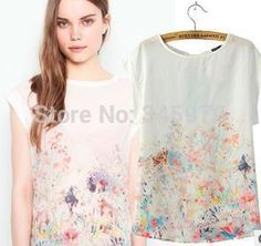 blusa estampa floral de seda