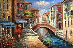 Oil Painting Street Scenery