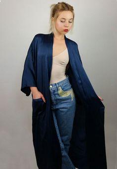 Vintage 70's Silk Kimono | Maxi Robe Wrap in Navy Blue | Kimono Dress | Long Wrap Kimono Robe by SarraMurra on Etsy