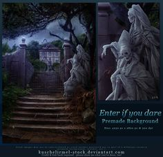I saw it's been ages since I submitted a free premade so here is something Halloween related, spooky, haunted house themed for you! Enter if you dare - Free Premade Background Halloween Artwork, Best Stocks, Dares, Mount Rushmore, Lion Sculpture, Deviantart, Statue, Explore, Artist