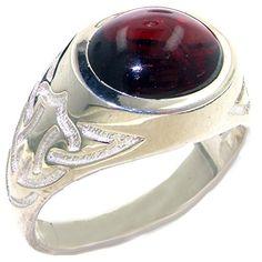 925 Solid Sterling Silver Natural Cabochon Garnet Mans Signet Ring - Size X…