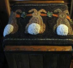 """Bunny Tales"" design by Ginny Glover of Cabin Fever rugs"
