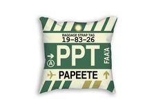 PPT Papeete Airport Code Baggage Tag Pillow