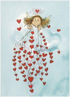 Angel of hearts.my sweet darling Angel Vylette Moon ❤️🌙❤️ Art Fantaisiste, Angels Among Us, Guardian Angels, Angel Art, Heart Art, Whimsical Art, Cherub, Illustration Art, Sketches