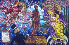 """The Sale of Venus, Oil on Canvas, 96""""x72"""" © 2011by Lili Bernard.  I created this work after Botticelli's 15th century painting, The Birth of Venus.  """"Lili Bernard manifests the Orishas in an epic painting approach that combines historical ecstasy with spiritual expressionism pulsating in a lush painterly approach."""" - MAT GLEASON art critic, Coagula Art Journal."""