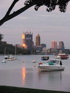 Perth CBD from Matilda Bay, Crawley, circa 2011