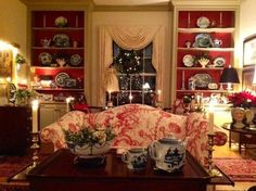 Lovely red toile and transferware room