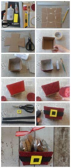 Para hacerlas necesitas: CartónPeriódico Pintura con brillosPintura y diamantina rojaPincelMasking tapePegamento blanco