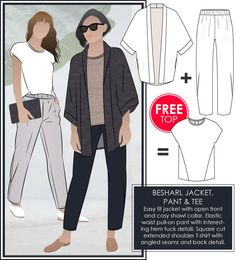 Besharl Discount Pattern Bundle // Sizes 12 & 14 // Style Arc PDF Sewing Patterns for a Women's Jacket, T-shirt and Pant Pdf Sewing Patterns, Vogue Patterns, Vintage Patterns, Vintage Sewing, Pull On Pants, Kimono Fashion, Fashion Fashion, Outfit, Jackets For Women