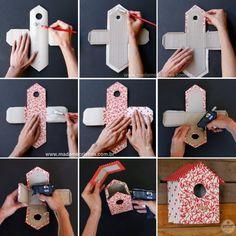 Como fazer uma casinha de passarinho com papelão e tecido estampado - casa de passarinho - Dicas e passo a passo com fotos - Tutorial with p...