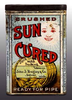 Sun Cured Crushed Extra Mild Smoking Tobacco John J. Barley & Co. Detroit Mich.