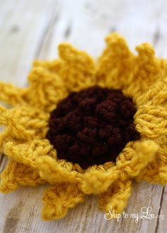 Beautiful free Sunflower crochet pattern over at the Skip to My Lou blog. Instructions are rather confusing. Ended up making my own design using this as the base. See Ravelry: http://ravel.me/Crochet1Chocolate/kas0u