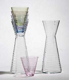 Sia Mai Handblown Glass Karafe in Rainbow Web Design