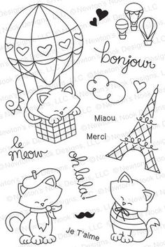 Newton Dreams of Paris - Photopolymer stamp set by Newton's Nook Designs featuring Cat and Paris Stamps Doodle Drawings, Doodle Art, Cute Drawings, Embroidery Patterns, Hand Embroidery, Doodles, Art Plastique, Digital Stamps, Colouring Pages