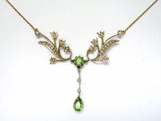 Wonderful Edwardian Peridot and Pearl Necklace #pearl #peridot #edwardian