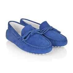Tods Royal Blue Suede Leather Moccasins