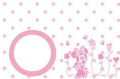 Tarjetas para imprimir gratis de Minnie Mouse en rosa, blanco y negro.