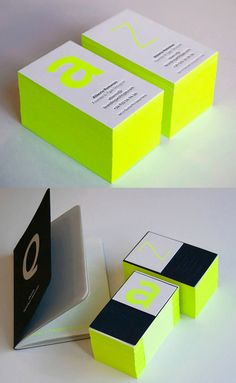 Bright Neon Typography And Edge Painting On A Business Card For A Font Designer Corporate Design, Business Card Design, Elegant Business Cards, Professional Business Cards, Cool Business Cards, Creative Business, Web Design, Design Cars, Stationery Design